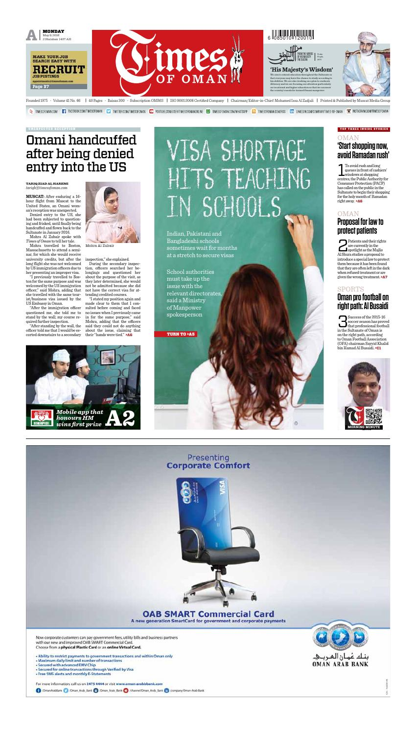 Times of Oman - May 9, 2016 by Muscat Media Group - issuu