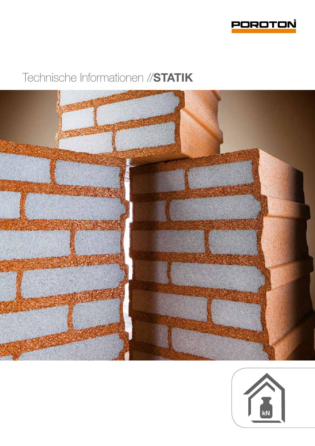 POROTON: Technische Informationen STATIK by Wienerberger AG - issuu