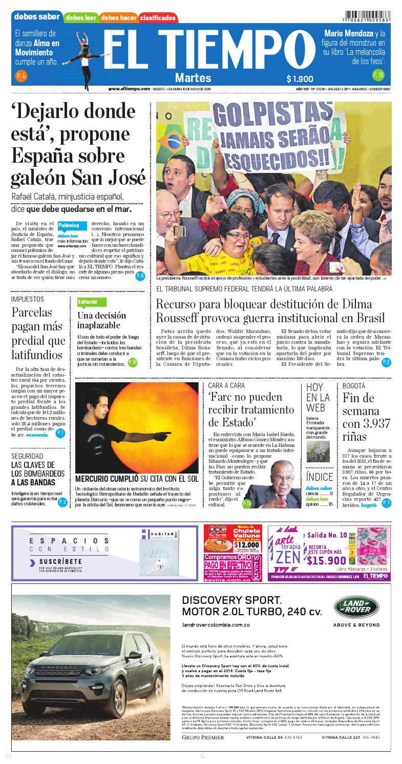 EL TIEMPO 10-05-2016 by Andres A. - issuu 530d20b9c212a