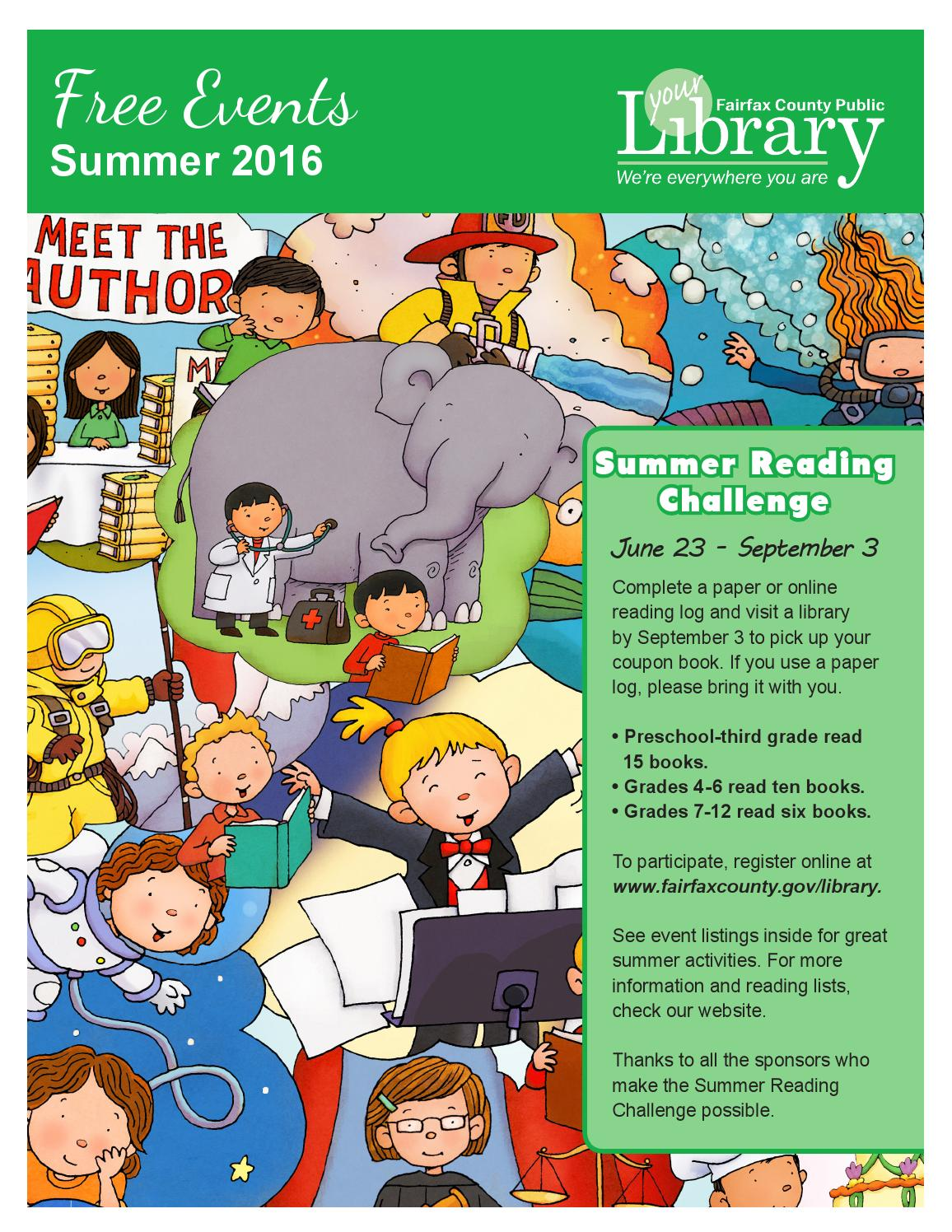 2016 Summer Free Events Calendar by Fairfax County Public Library ...