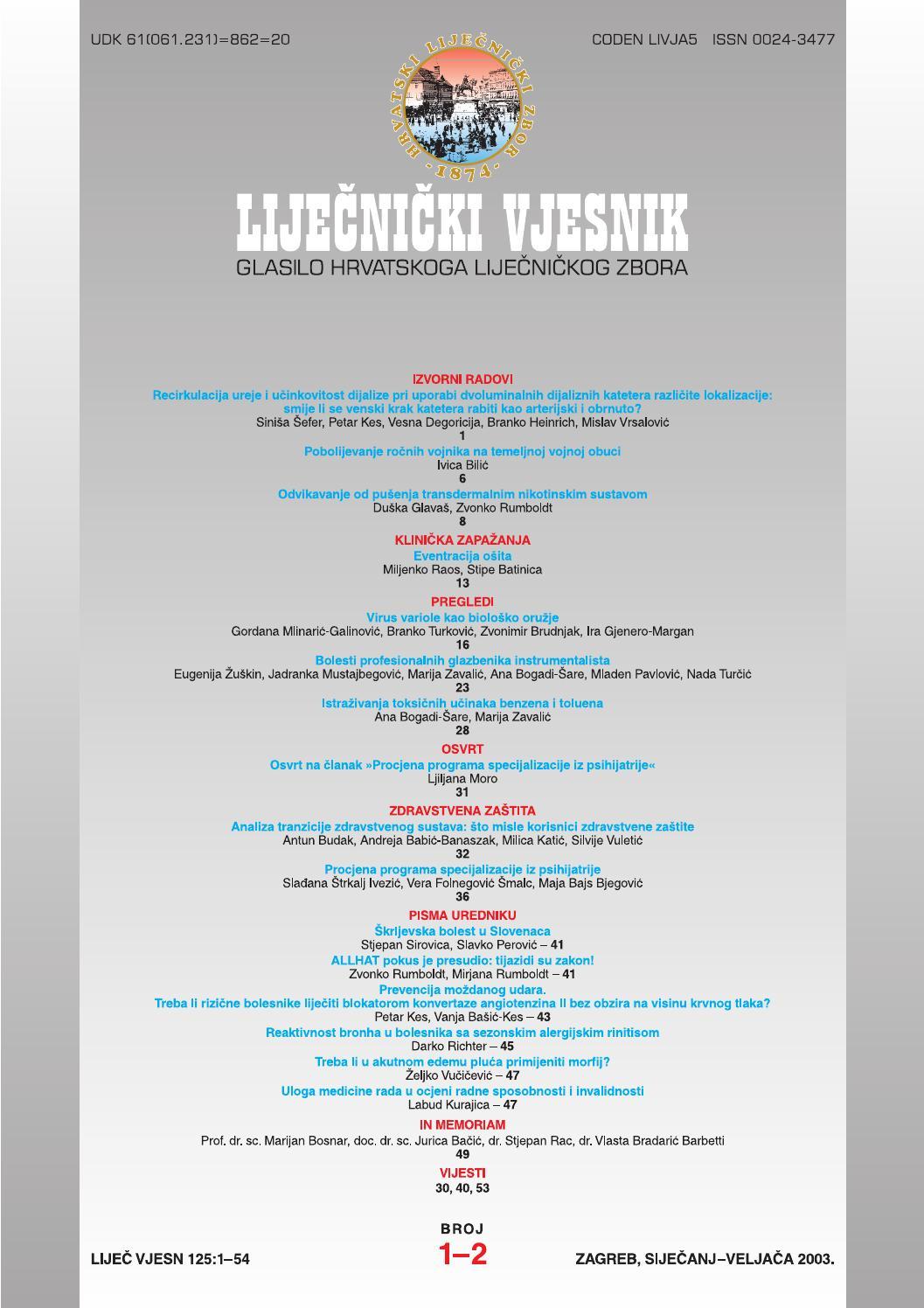 Lijecnicki Vjesnik Broj 1 2 2003 By Lijecnicki Vjesnik Issuu