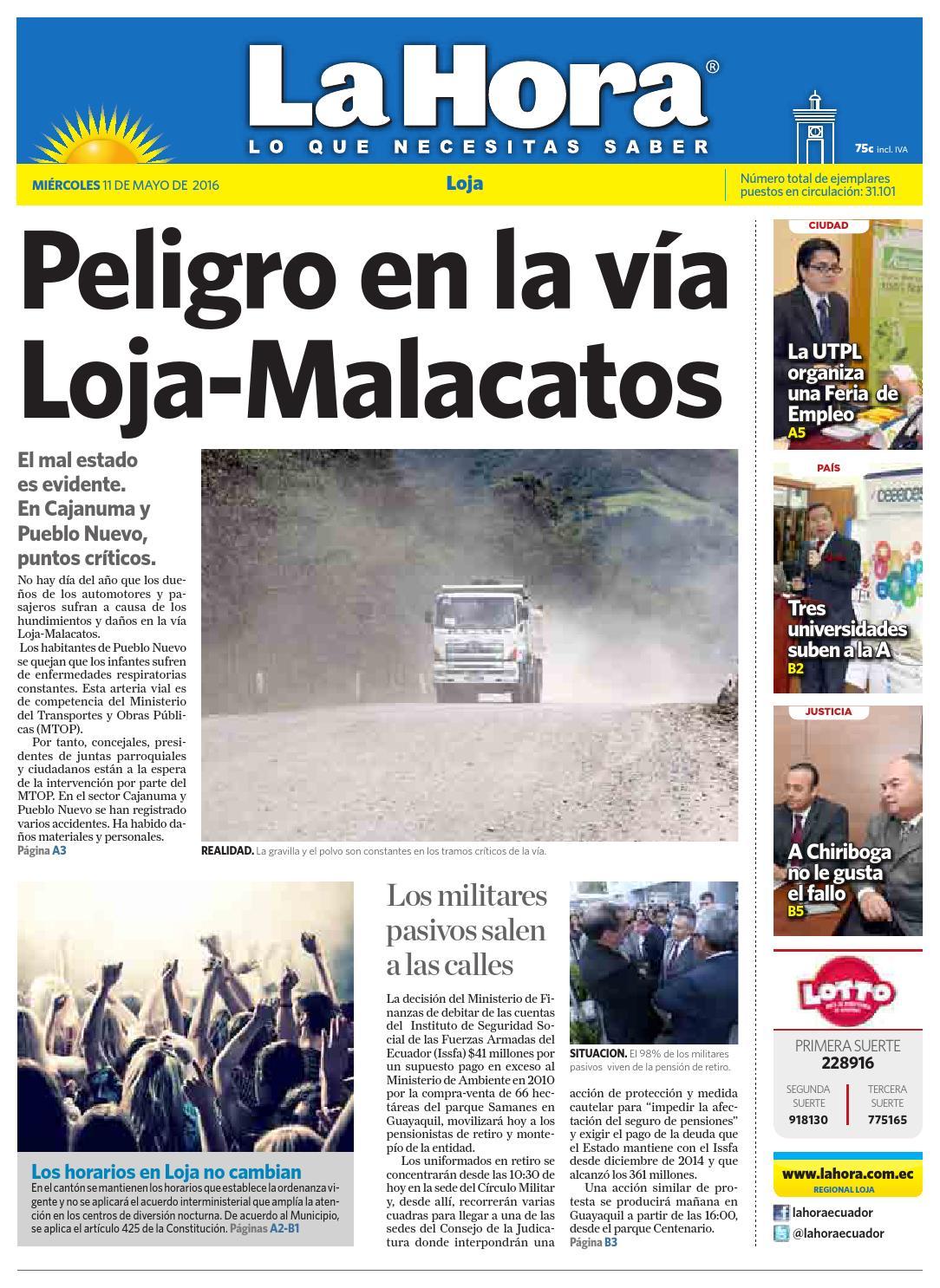 Diario La Hora Loja 11 de Mayo 2016 by Diario La Hora Ecuador - issuu