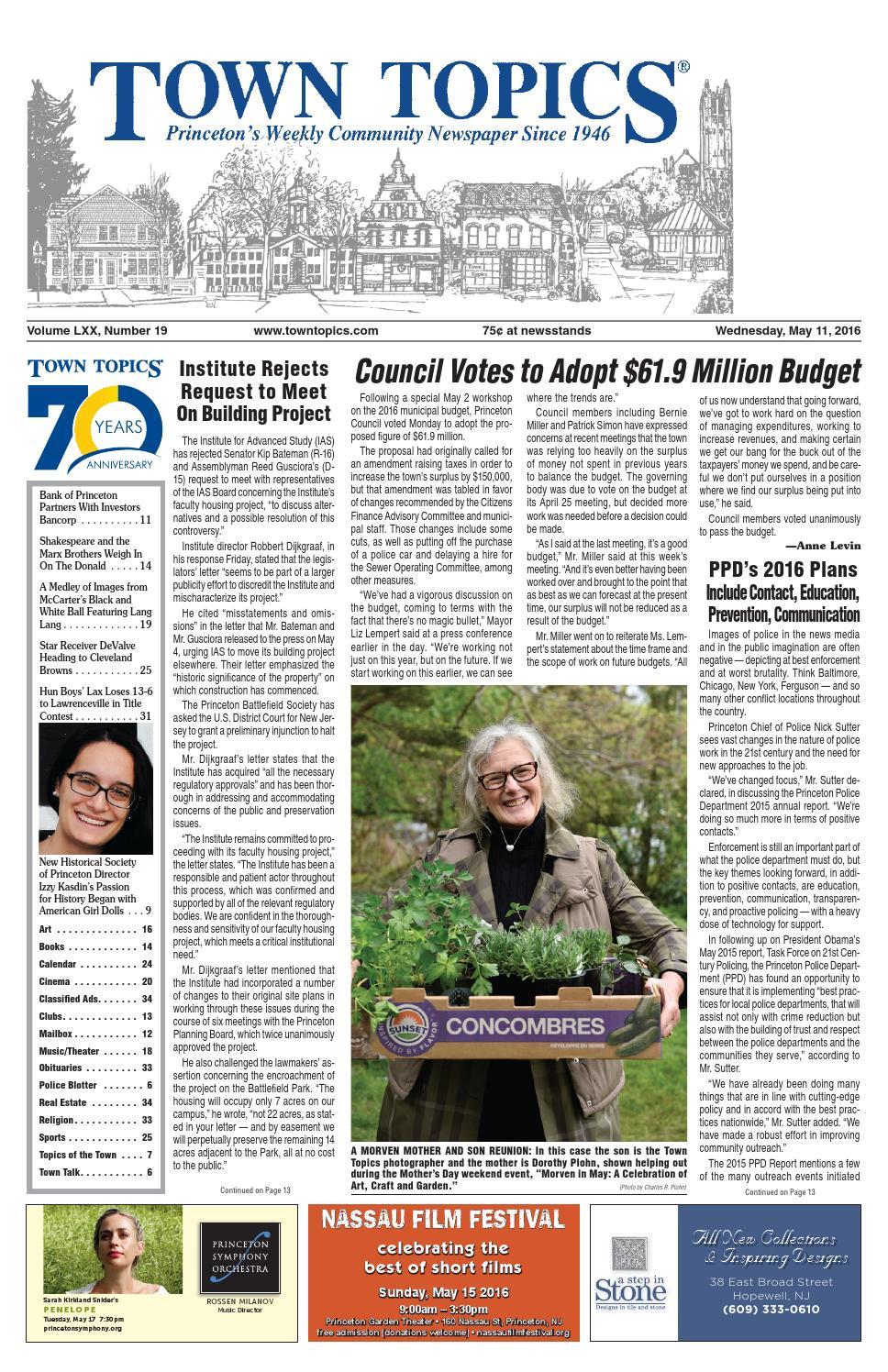 Town Topics Newspaper May 11, 2016