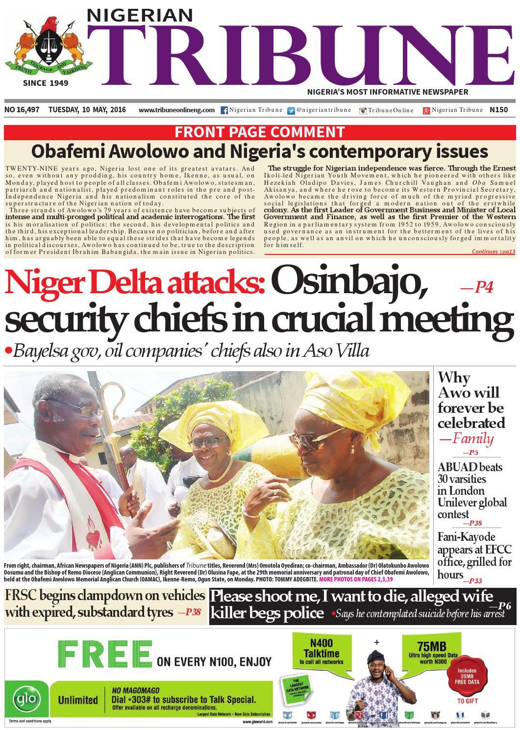 449309b5c08 10th May 2016 by Nigerian Tribune - issuu