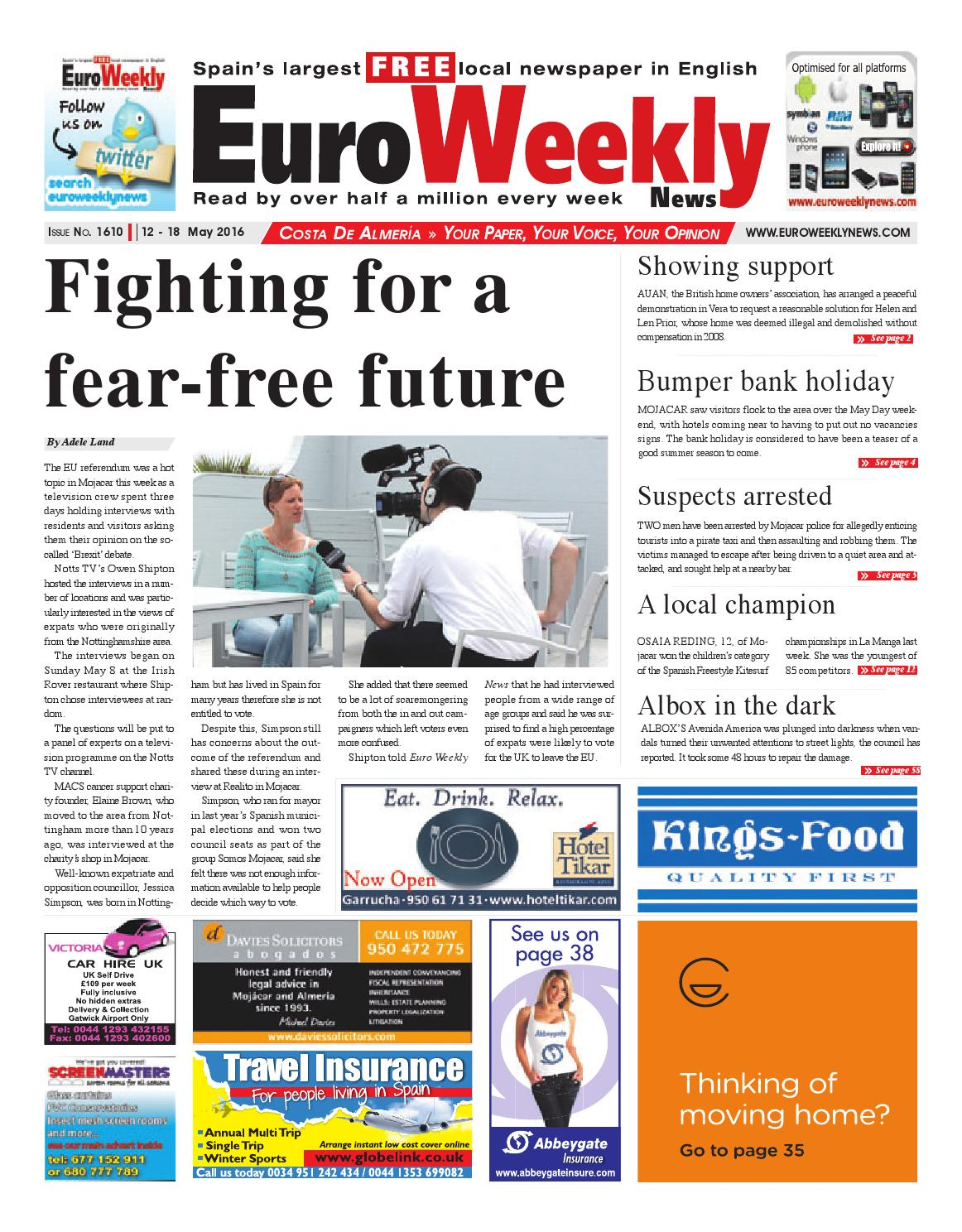 Euro Weekly News - Costa de Almeria 12 - 18 May 2016 Issue 1610 by ...