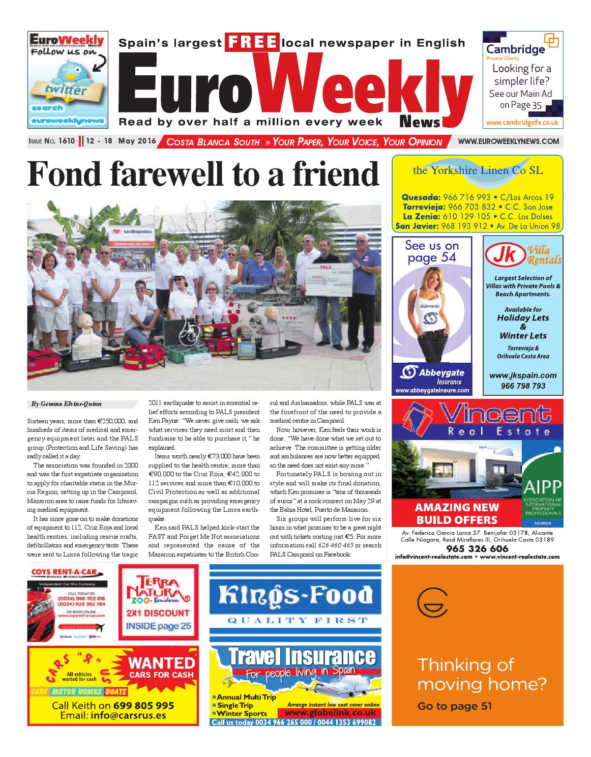 Euro Weekly News Costa Blanca South 12 18 May 2016 Issue 1610  # Penguin Lodge Muebles