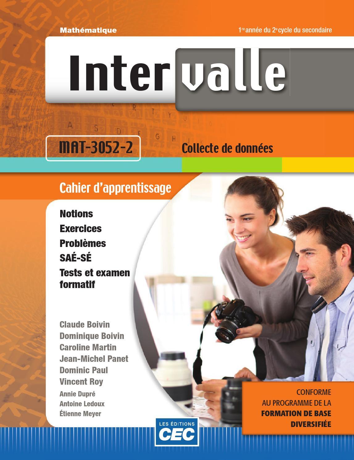 Intervalle Fbd Mat-3052 By Les  U00c9ditions Cec
