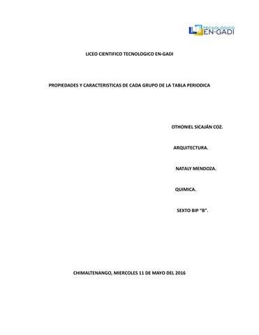 Propiedades y caracteristicas de cada grupo de la tabla periodica by page 1 liceo cientifico tecnologico en gadi propiedades y caracteristicas de cada grupo de la tabla periodica urtaz Images
