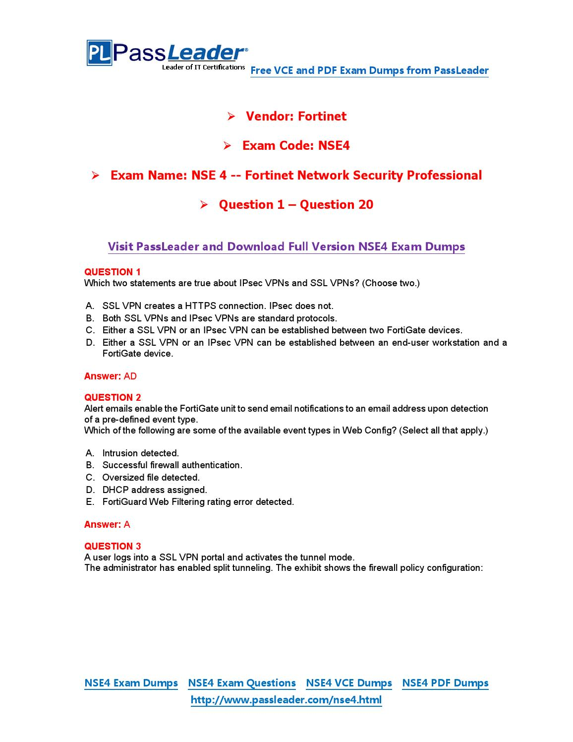 2016 New NSE4 Exam Dumps For Free (VCE and PDF) (1-20) by