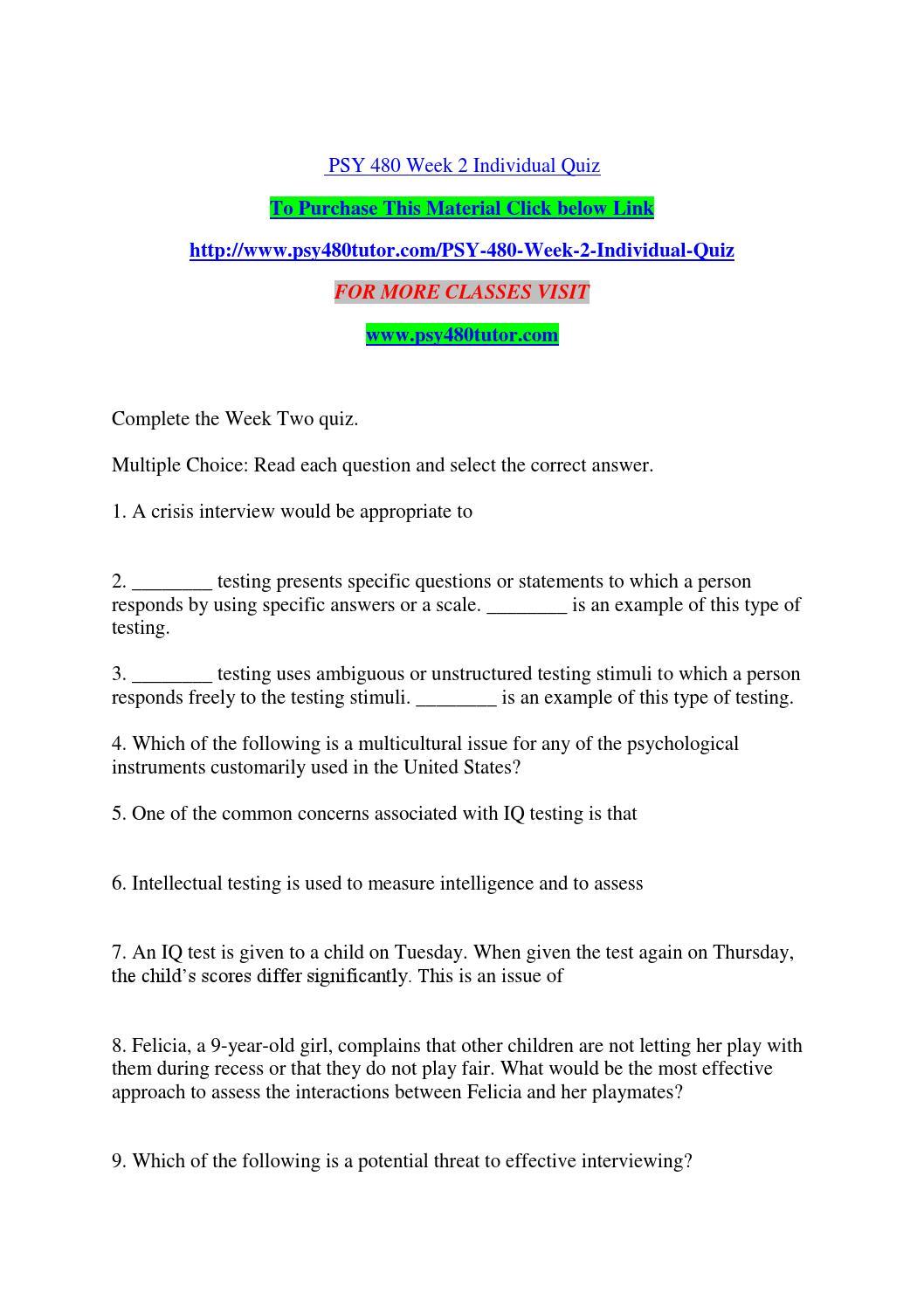 Psy 480 week 2 individual quiz by leonardjonh15 - issuu