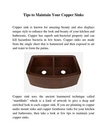 Tips To Maintain Your Copper Sinks Copper Sink Is Known For Amazing Beauty  And Also Displays Unique Style To Enhance The Look And Beauty Of Your  Kitchen And ...