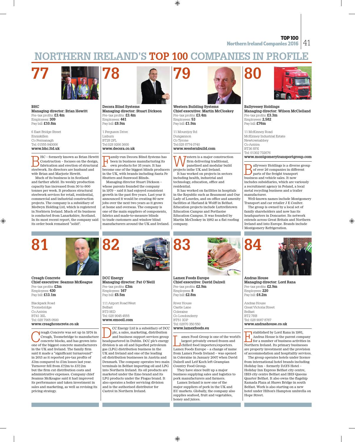 Belfast Telegraph Top 100 Northern Ireland Companies by