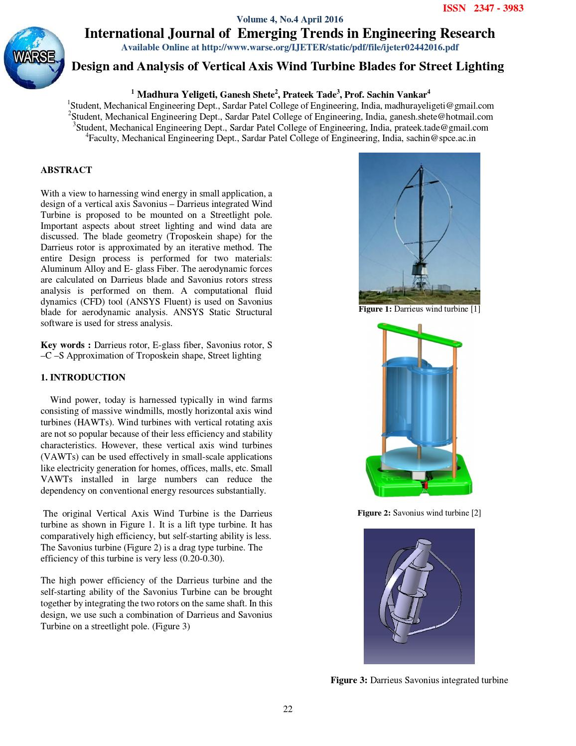 Design And Analysis Of Vertical Axis Wind Turbine Blades