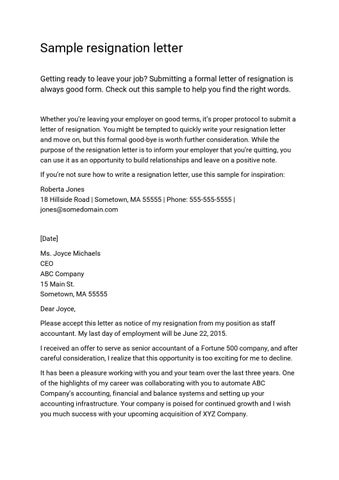 Resignation letter sample by hakanselvi issuu sample resignation letter getting ready to leave your job submitting a formal letter of resignation is always good form check out this sample to help you expocarfo Images