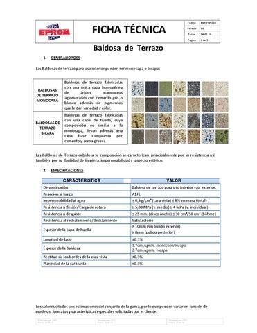 Ficha tecnica de baldosa de terrazo veneciana by eprom issuu for Baldosas de terrazo
