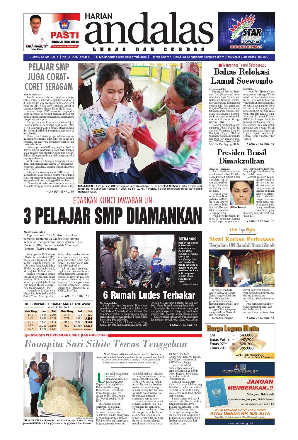 Epaper Andalas Edisi Jumat 13 Mei 2016 By Media Issuu Warior Lc Pendek All Black Sekolah Prsmuka Kerja Santai Main Anak Dewasa