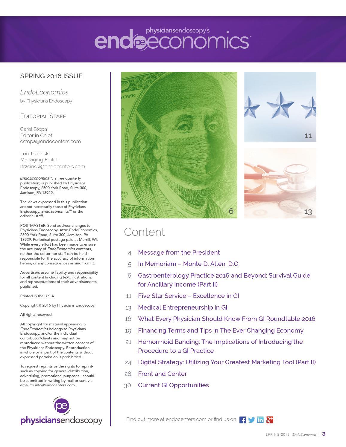 Endoscopy Suite: EndoEconomics Spring 2016 By Physicians Endoscopy, LLC