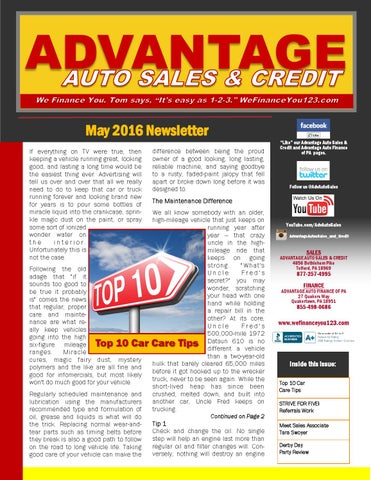 Advantage Car And Credit >> May 2016 Newsletter Advantage Auto Sales Credit By