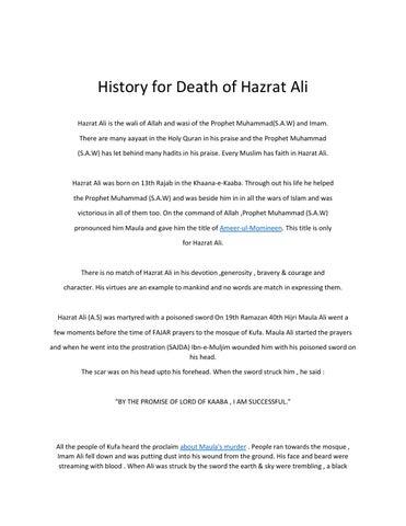 History for death of hazrat ali by Ali Jan - issuu