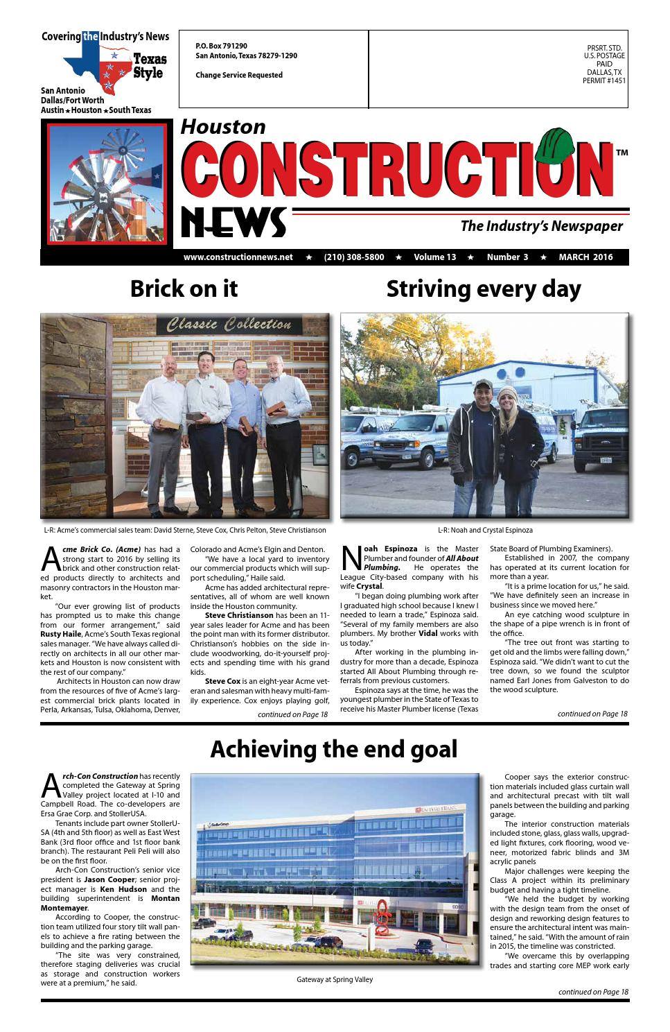 Houston Construction News March 2016 By Construction News