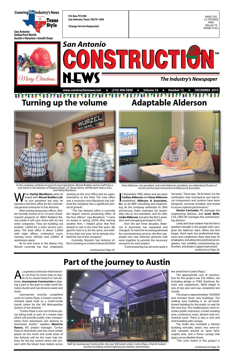 Chase brass and copper company addition turner construction company - San Antonio Construction News December 2015 By Construction News Ltd Issuu