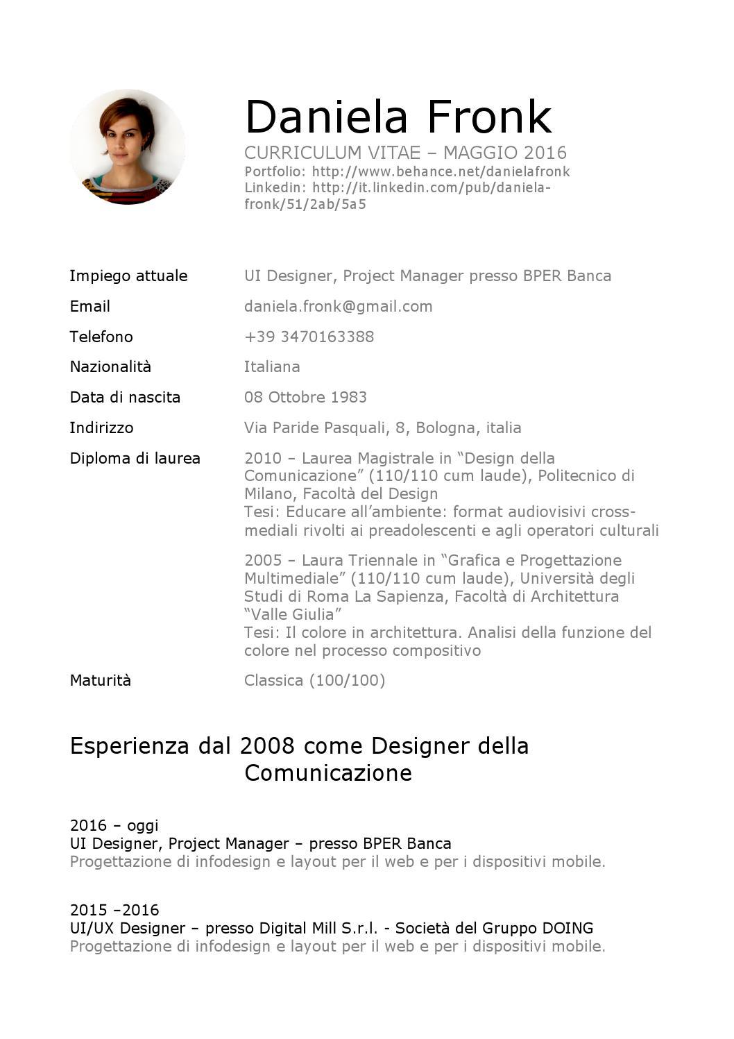 Curriculum Vitae Daniela Fronk By Daniela Fronk Issuu
