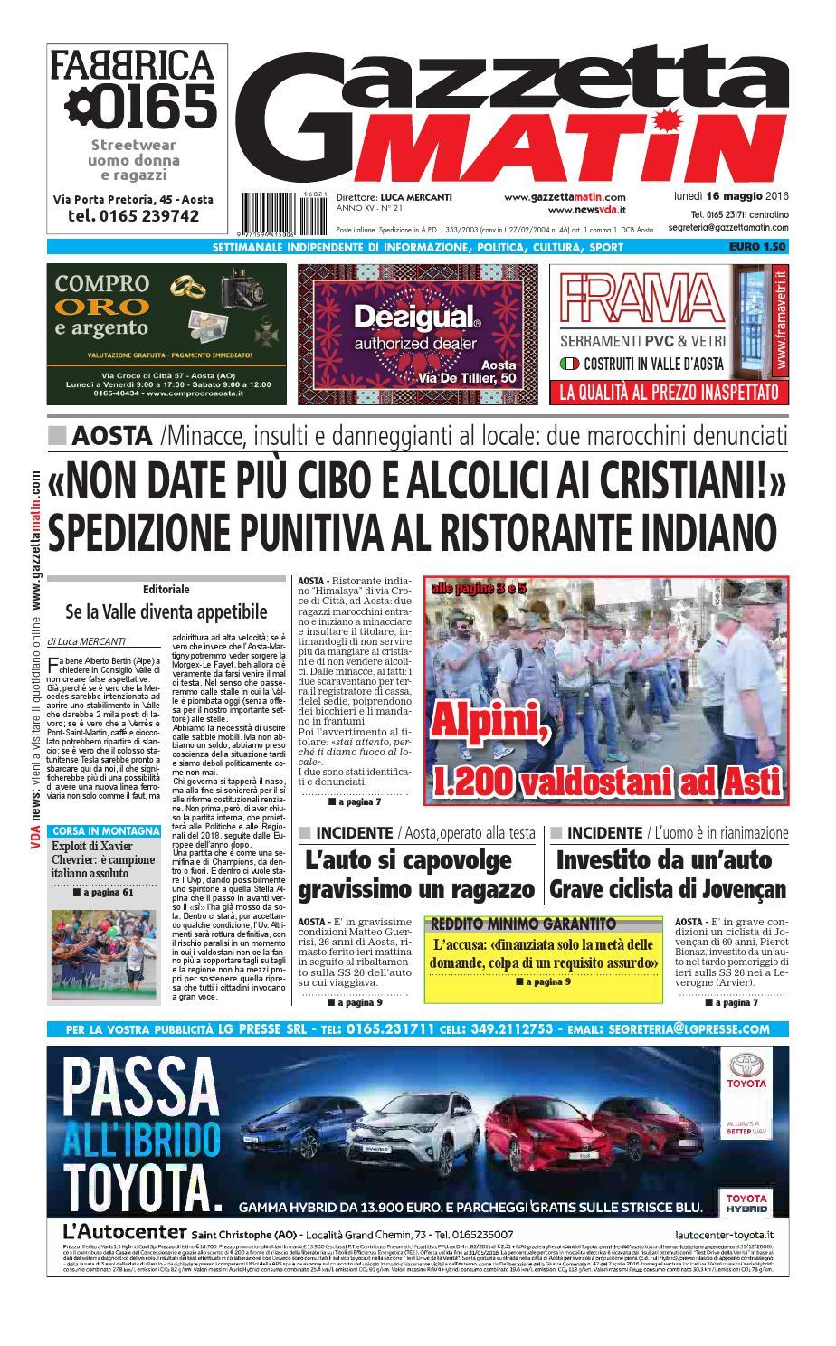 d6c13b40f79a1 Gazzetta Matin del 16 maggio 2016 by NewsVDA - issuu