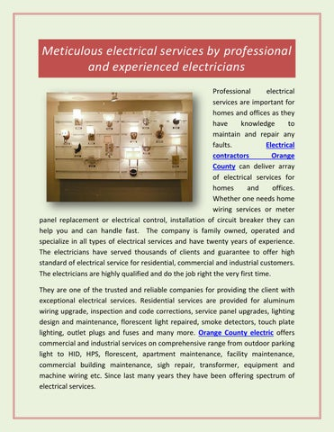 Meticulous electrical services by professional and experienced ...