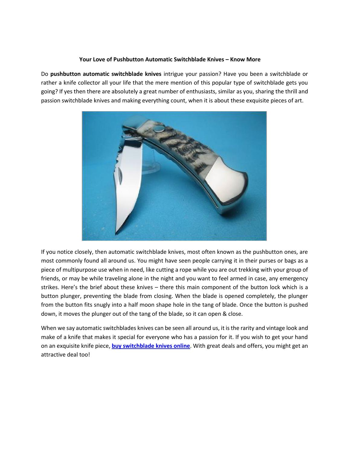 Your love of pushbutton automatic switchblade knives – know more by
