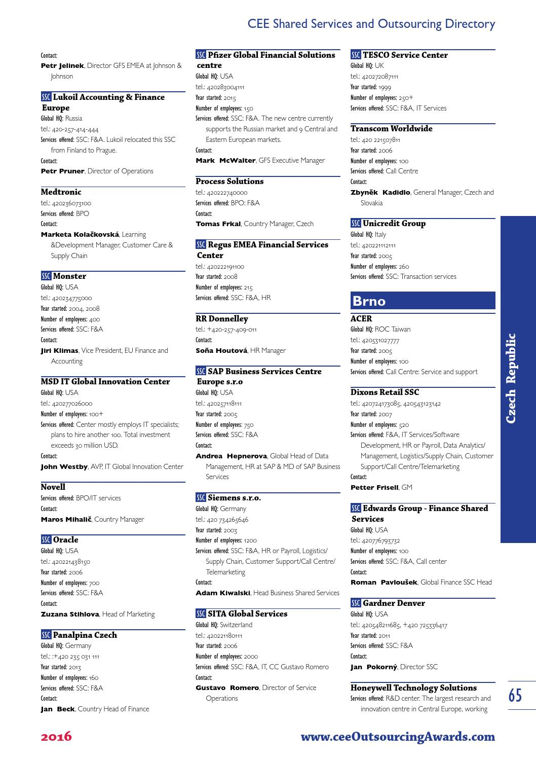 CEE Shared Services and Outsourcing Directory - 2016 by
