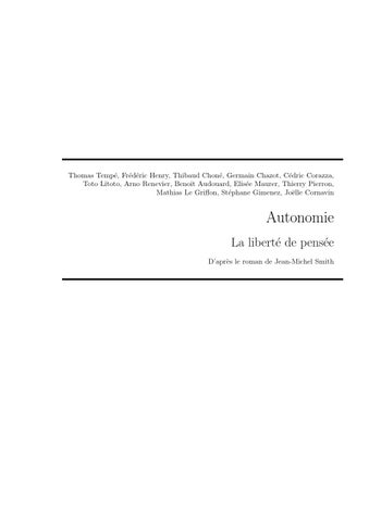 Autonomie, la liberté de penser by risssylvain - Issuu