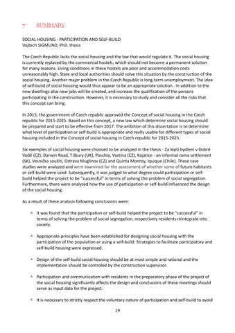 Summary social housing participation and self build sigmund
