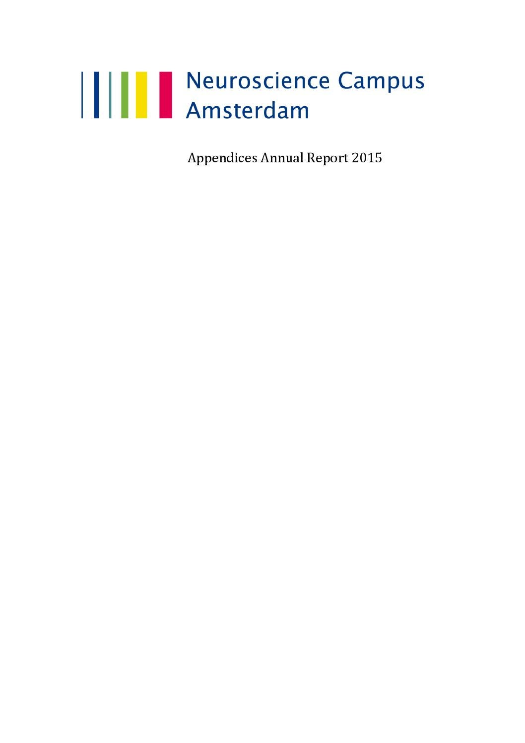 Nca Annual Report 2015 Appendices By Vrije Universiteit Amsterdam
