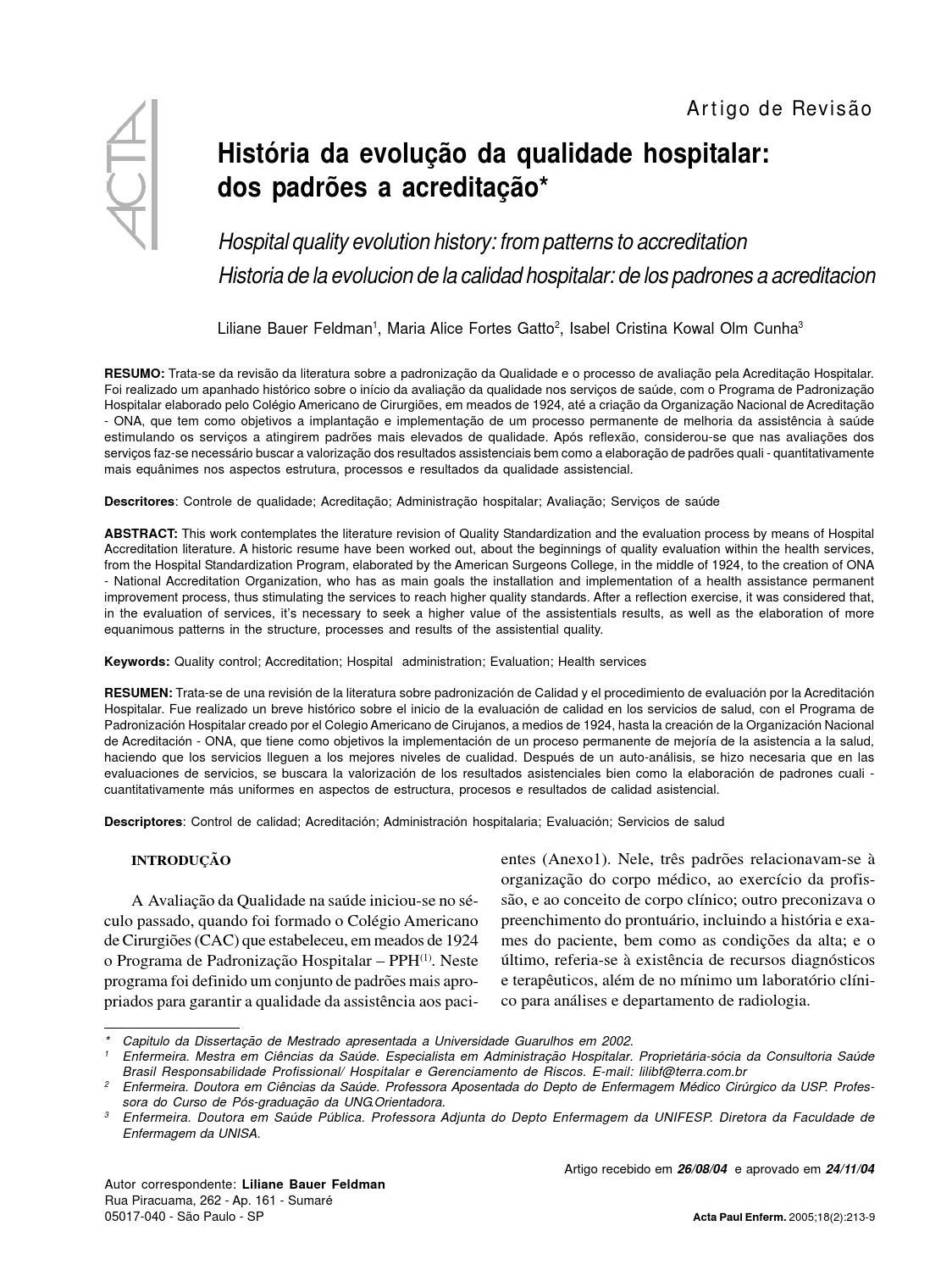 Artigo Acreditação Hospitalar By José Do Patrocinio Issuu