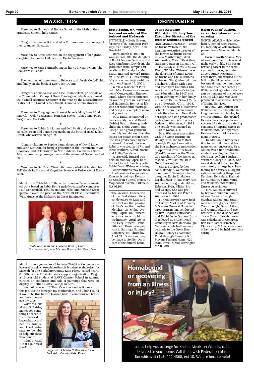 Berkshire Jewish Voice May 15 2015 By Jewish Federation Of The