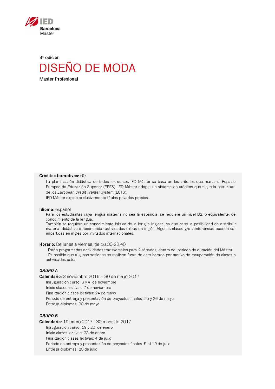 Master Diseño de Moda by IED Barcelona - issuu
