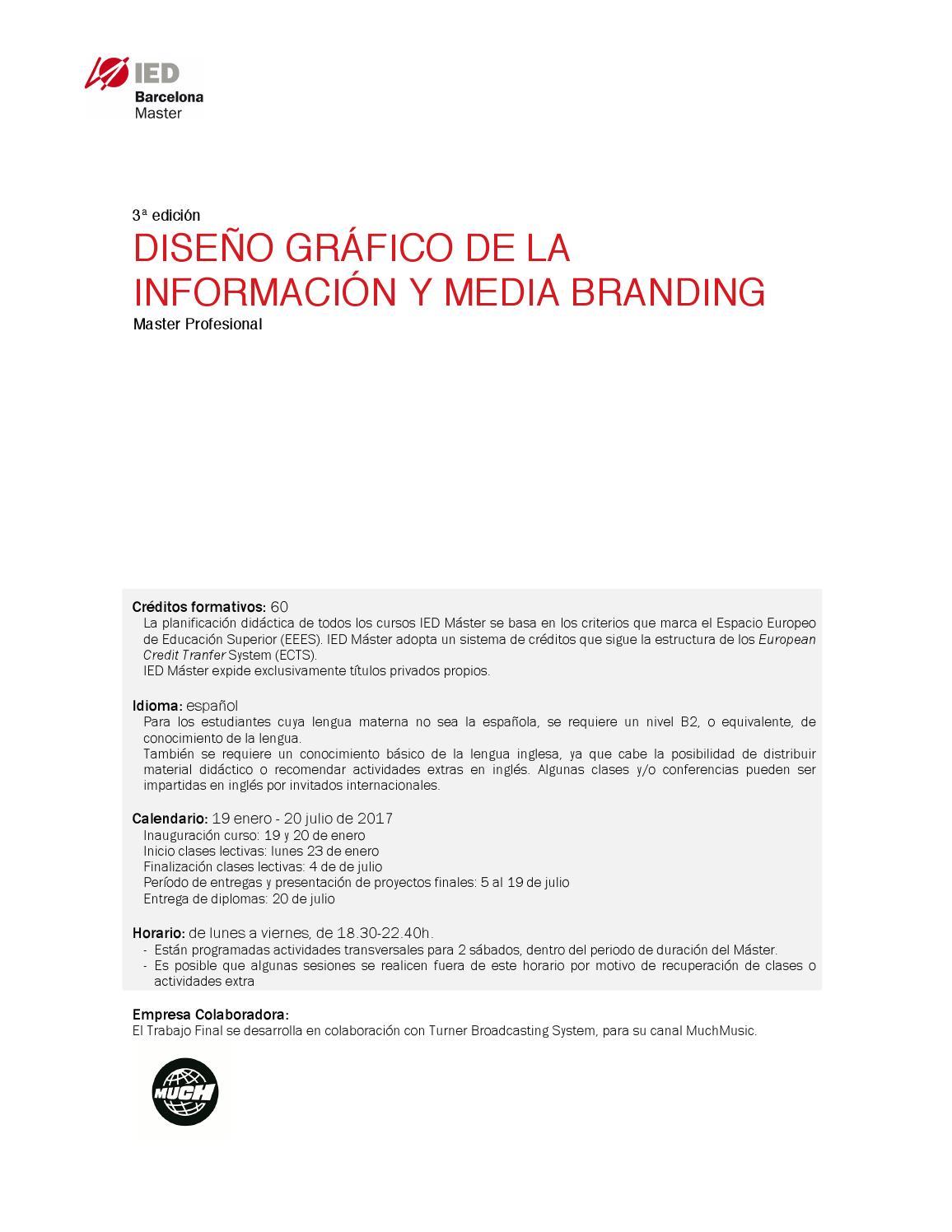 Master En Diseño Gráfico De La Información Y Media Branding