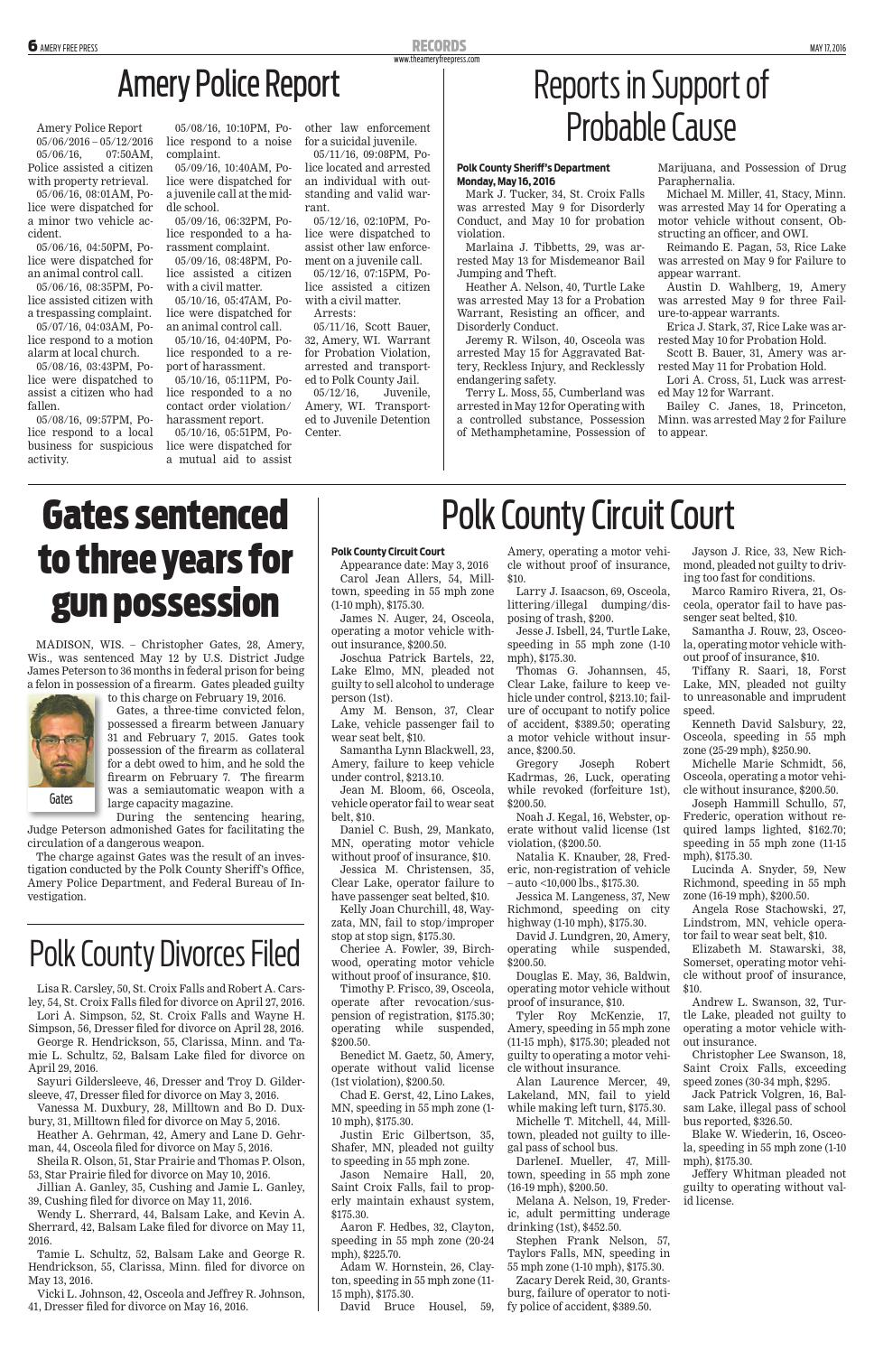 Polk County record for May 12, 2015