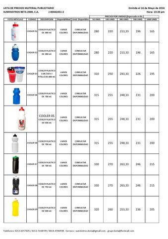 f297050b5 LISTA DE PRECIOS MATERIAL POP 16 05 2016 by suministrosbeta2000 - issuu