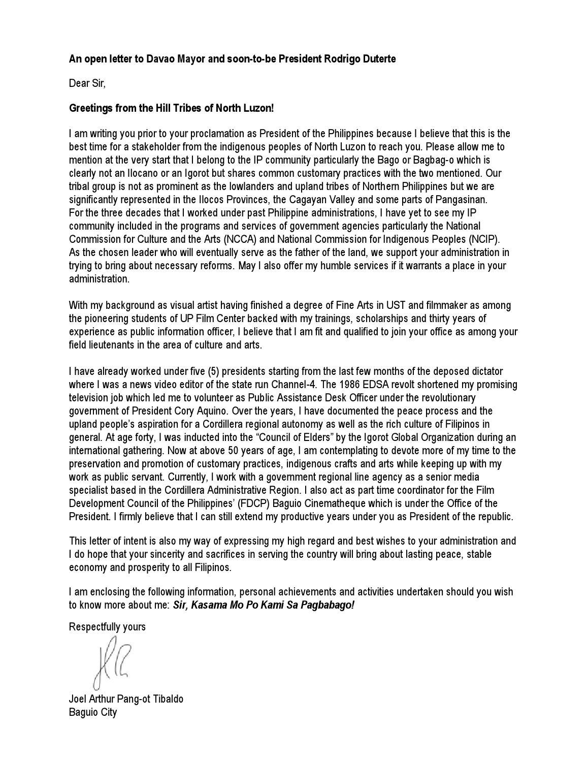 An Open Letter To Presumptive President Rodrigo Duterte By Art