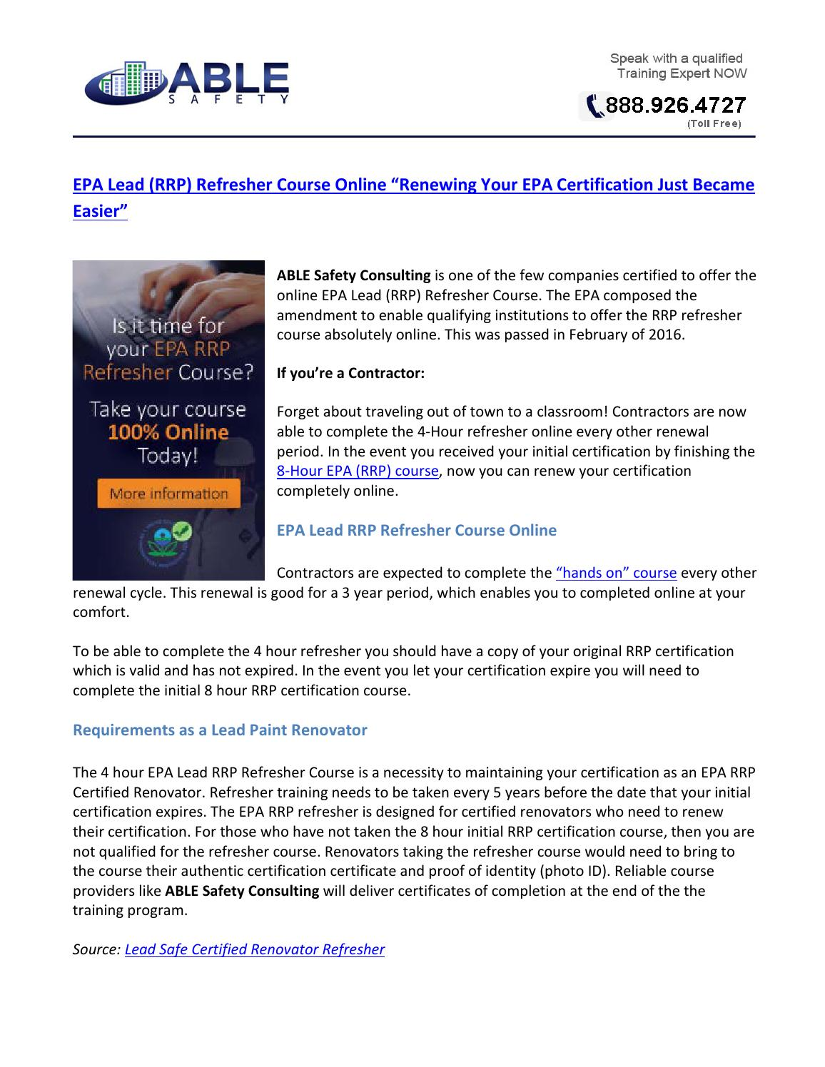 Epa Lead Rrp Refresher Course Online By John Madrigal Issuu