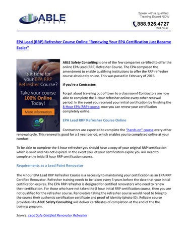 Epa lead (rrp) refresher course online by John Madrigal - issuu