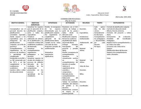 Plan de coordinaci n pedag gica de educaci n inicial by for Planificacion de educacion inicial