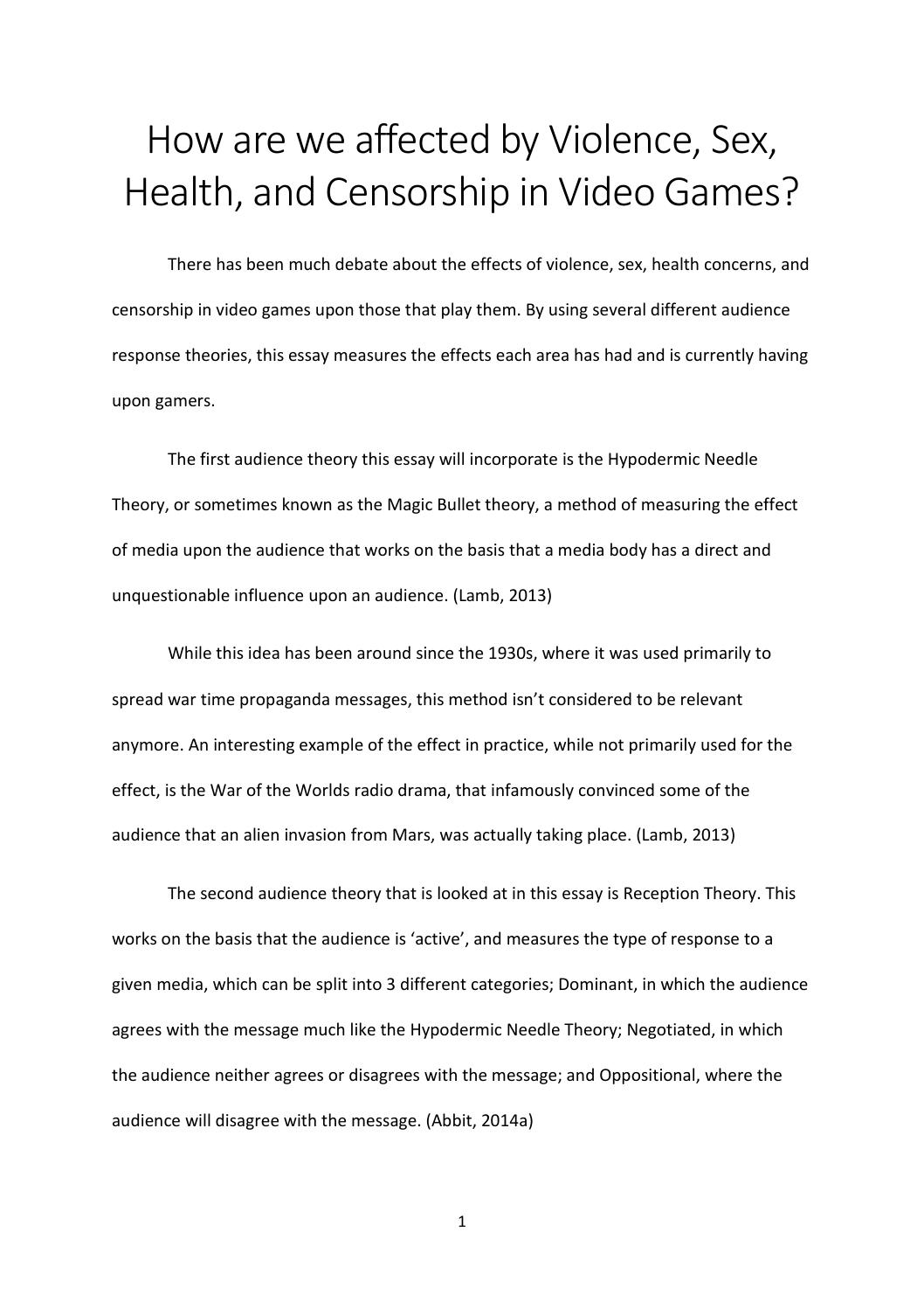 Essay On Video Game Violence