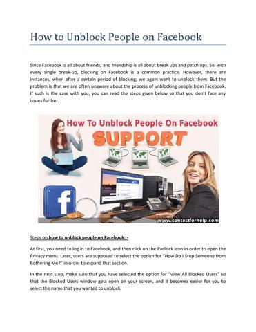 Unblock People on Facebook by Lisa Heydon - issuu