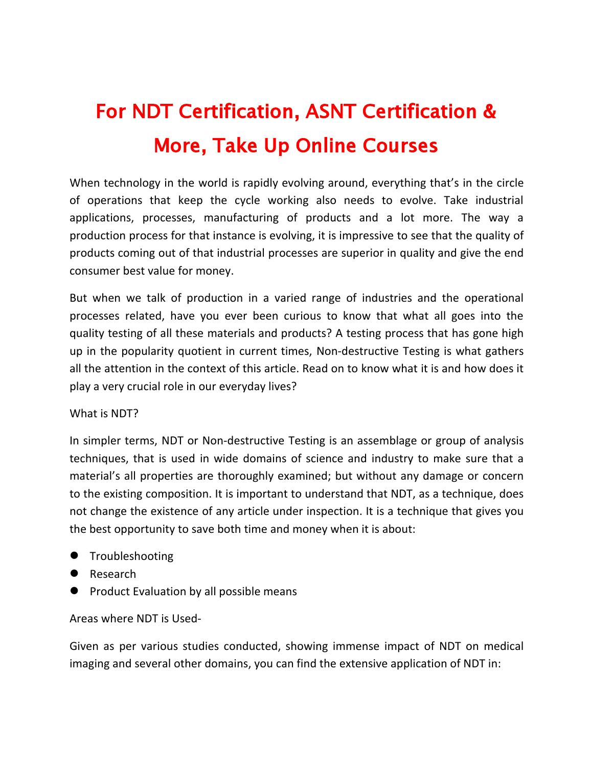 For Ndt Certification Asnt Certification More Take Up Online