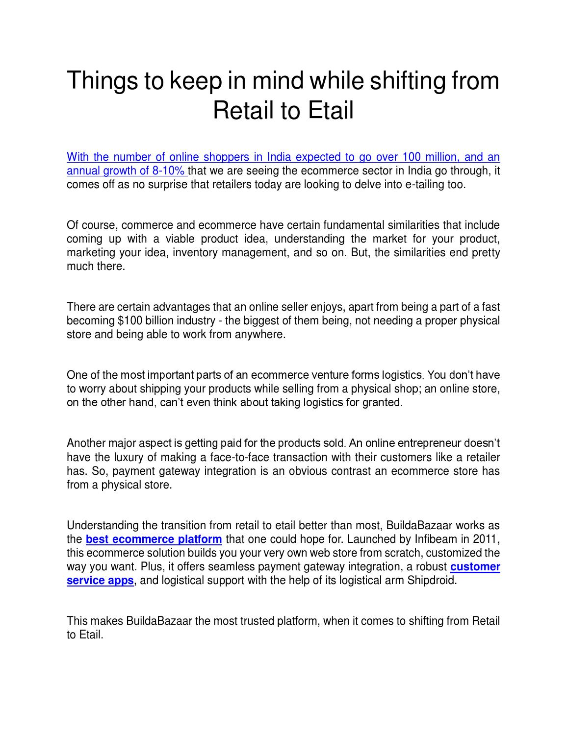 Things to keep in mind while shifting from Retail to Etail