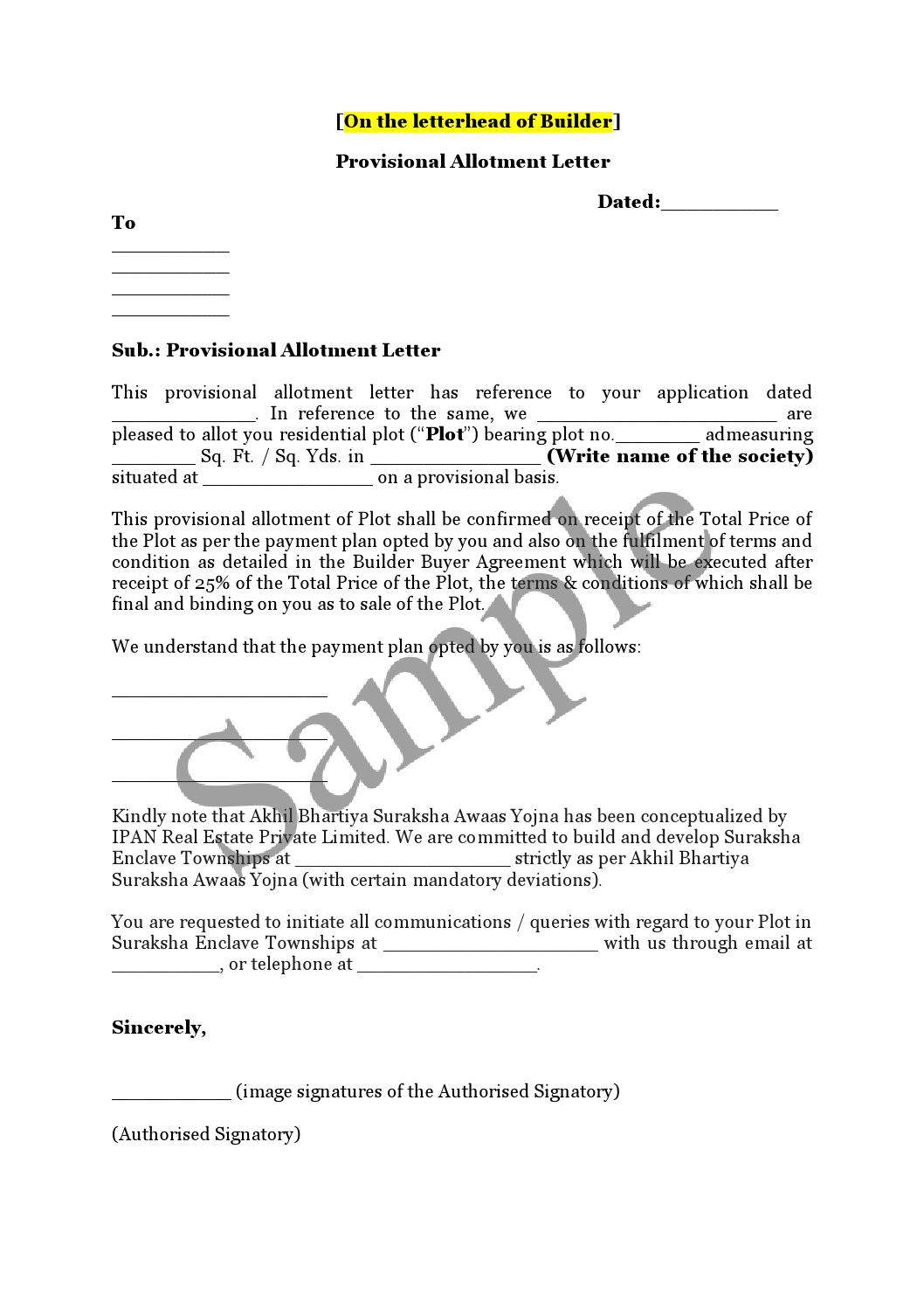 Sample Provisional Allotment Letter Final By Absay India