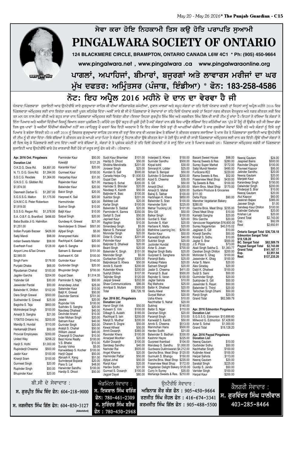 E paper – 20 may 2016 – section c – the punjab guardian by The