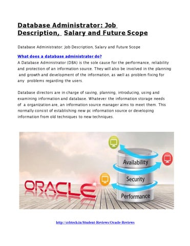 Database Administrator Job Description, Salary And Future Scope